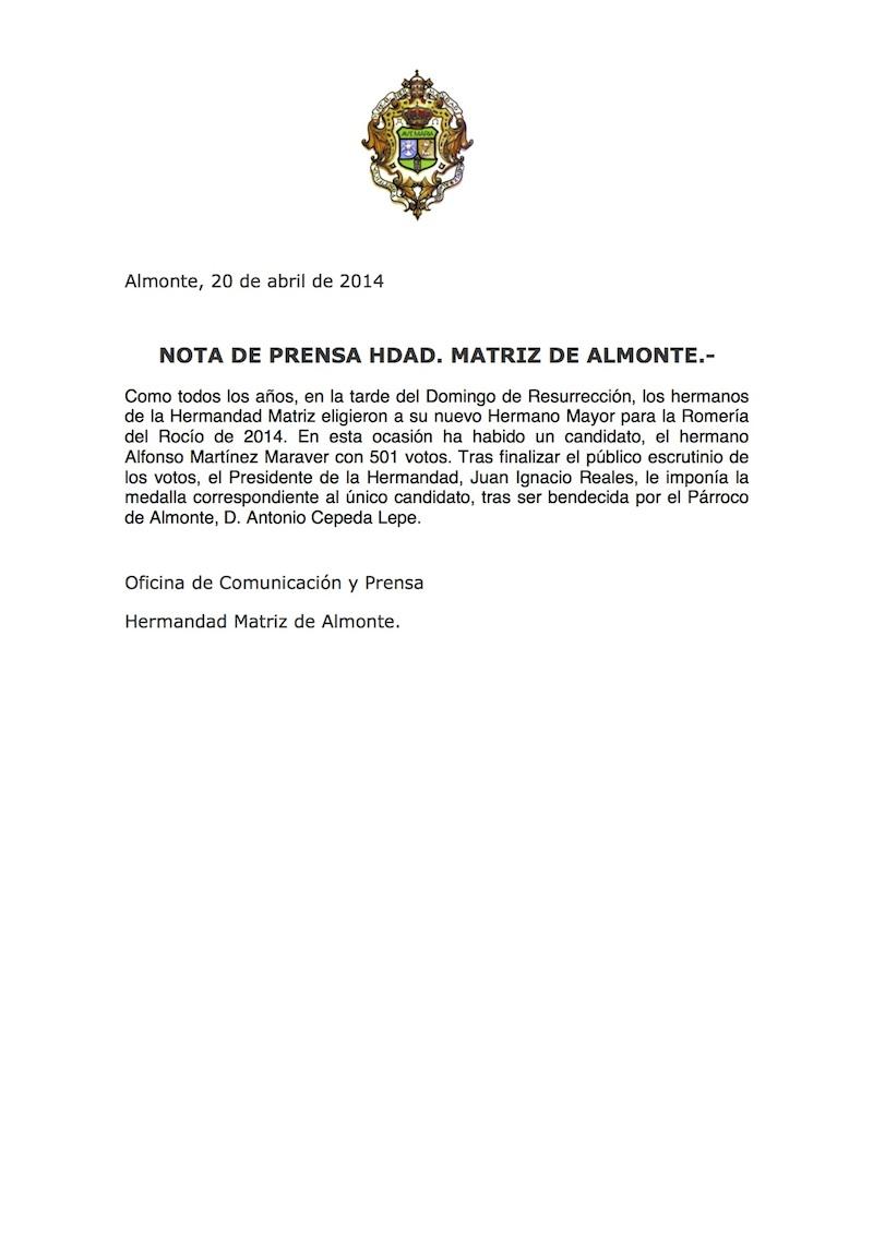 rocio.com - Alfonso Martínez Maraver, elegido Hermano Mayor de la Hermandad Matriz de Almonte -