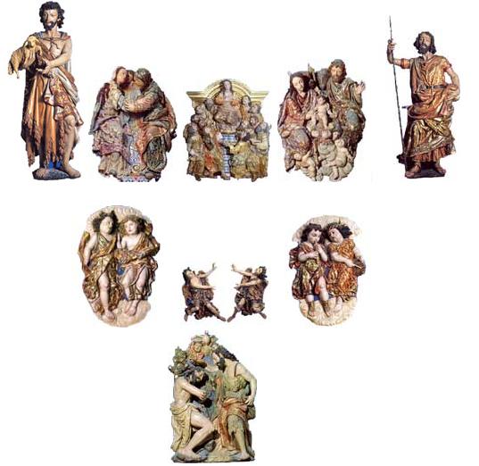 Figuras del retablo del Altar Mayor, en la Ermita de Ntra. Sra. del Rocío.