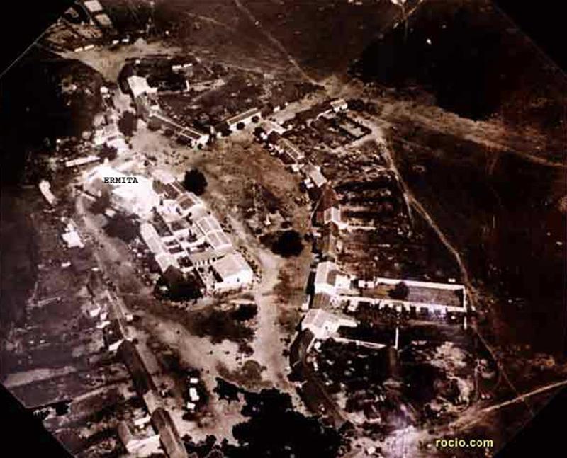 Fotografía aérea de la antigua aldea del Rocío