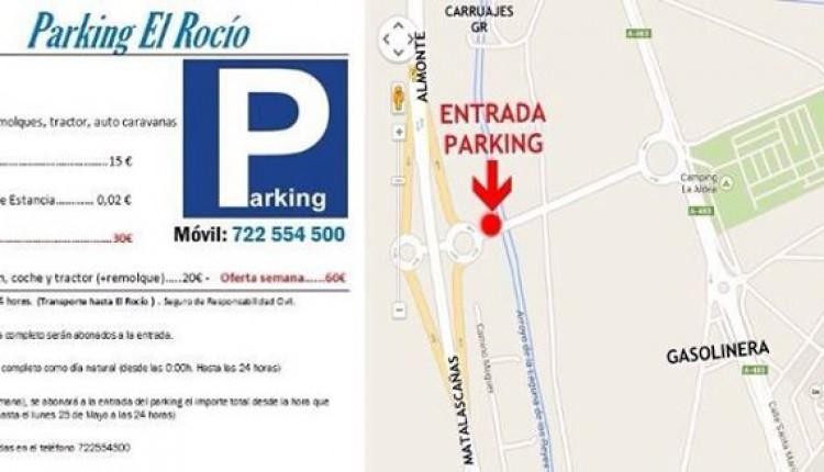Tarifas de los aparcamientos durante la Romería 2015