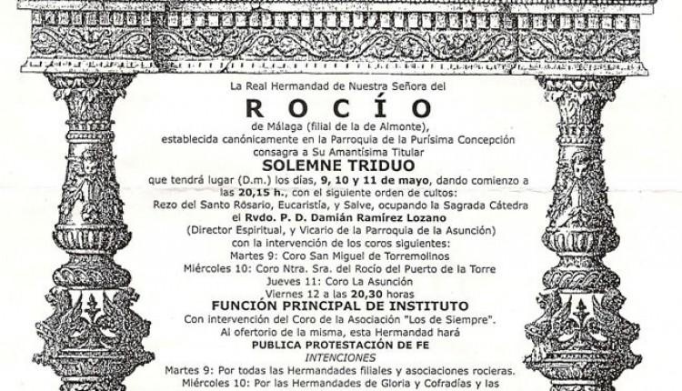 Cultos de la Hermandad de Málaga