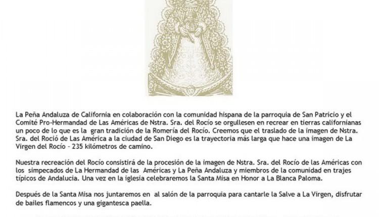 La Virgen del Rocio Viaja de Los Angeles a San Diego – El Rocio en San Diego California