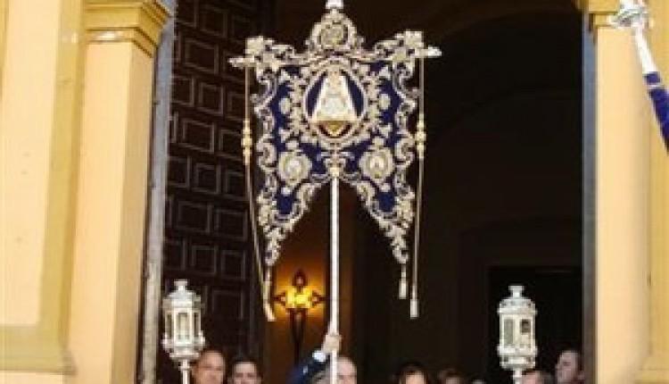 El Simpecado de la hermandad del Rocío de Alcalá de Guadaira en el santuario de la Virgen del Águila