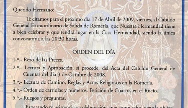 Gelves – Cabildo General Extraordinario de Salida de Romería 2009