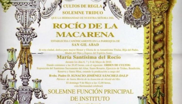 Hermandad de Ntra. Sra. del Rocío de Sevilla-Macarena – Solemne Triduo