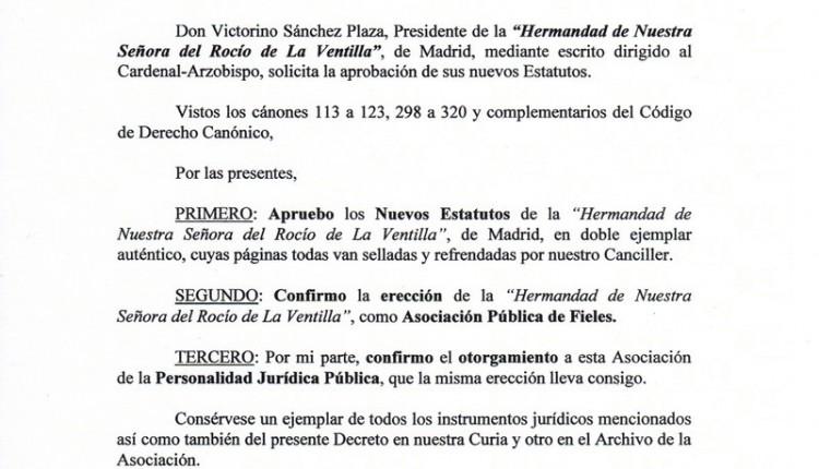 Hermandad Nuestra Señora del Rocío de la Ventilla – Nombramiento como HERMANDAD (No Filial)