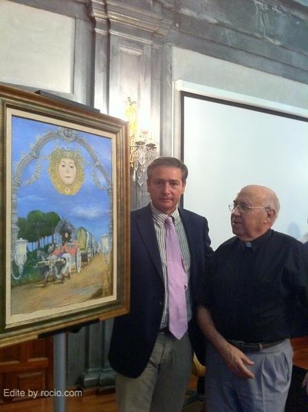 José Marín Alcántara, el autor, con el Párroco y Director espiritual de la Hdad.