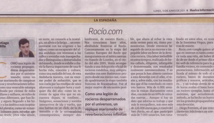 HUELVA INFORMACIÓN – 15 años de ROCIO.COM