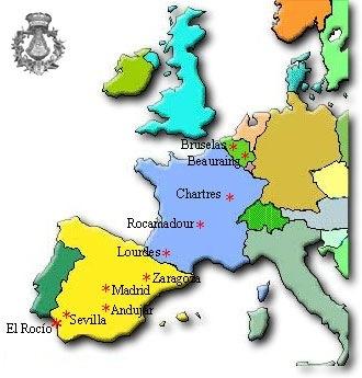 Mapa del Camino Europeo de El Rocío