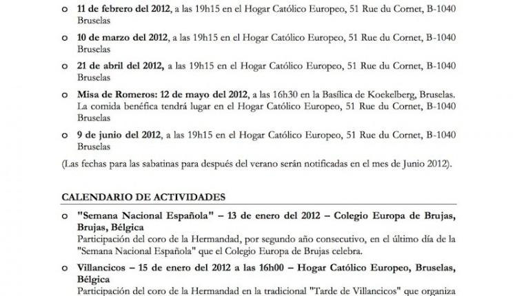 Hermandad de Bruselas – Agenda 2012