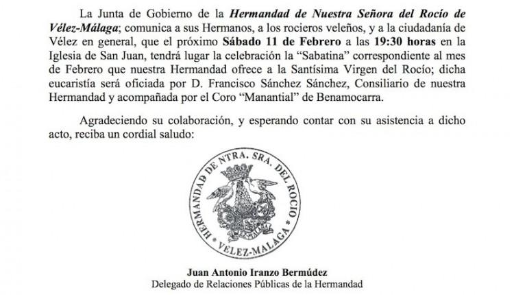 Hermandad de Vélez-Málaga – Sabatina