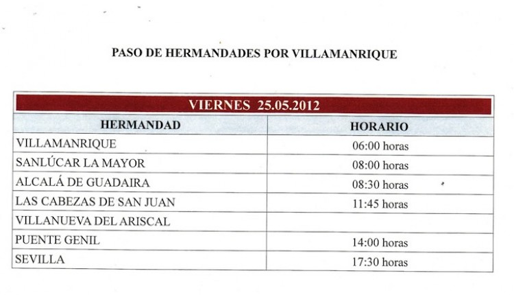 Cruce por Coria, Vado de Quema, Sanlucar, y Villamanrique el viernes 25 de mayo 2012
