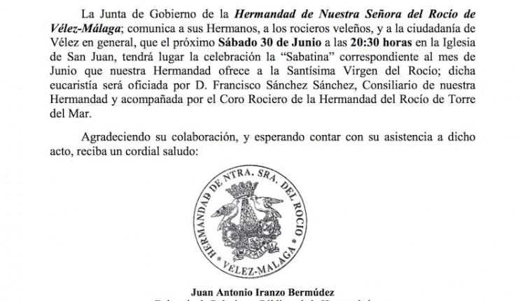 Hermandad de Nuestra Señora del Rocío de Vélez-Málaga – Sabatina