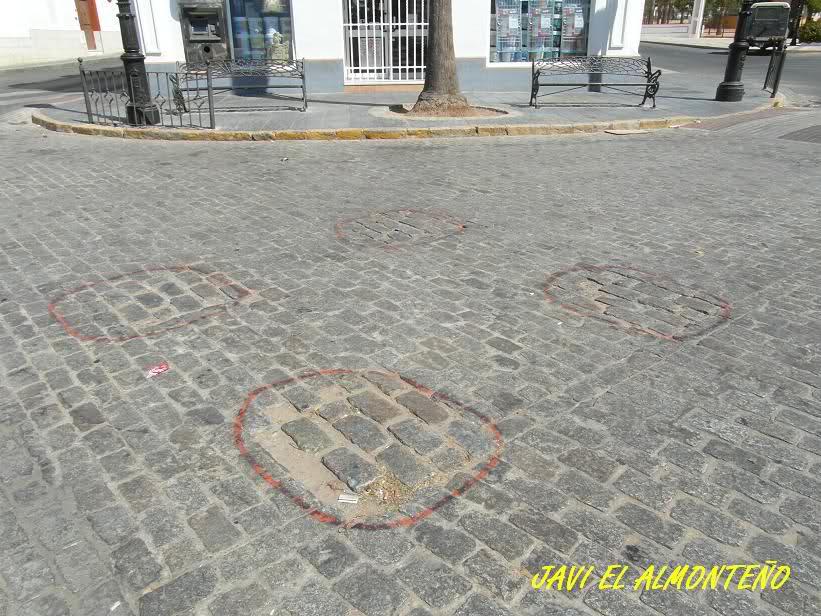 En el sitio llamado la zona del Monumento a las Yeguas, (Antigua Campana o Altozano), están señaladas en los adoquines , donde ira el arco de la estrella, frente al arco del Chaparral.