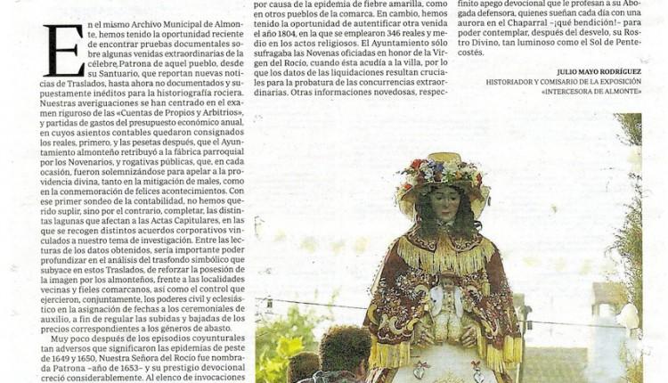 Artículo de Julio Mayo en ABC – Otros Traslados antiguos de la Virgen de El Rocío