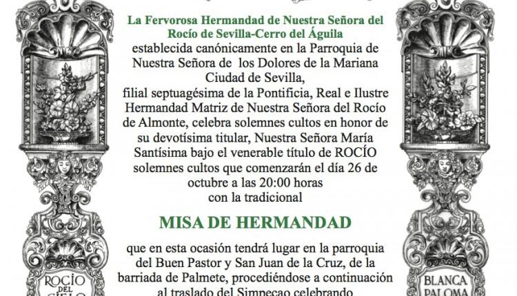 Misa Solemne y Rosario Público en la Fervorosa Hermandad del Rocío del Cerro.