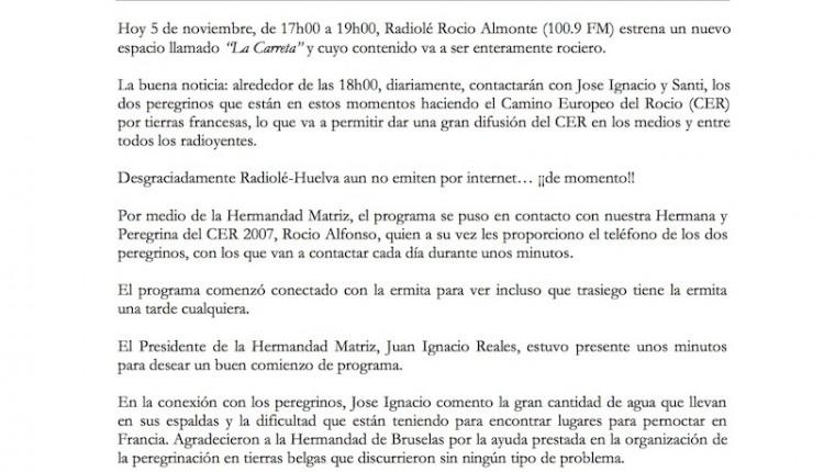 CRÓNICA: RADIOLÉ ROCIO de ALMONTE Programas del 5 al 16 de noviembre del 2012