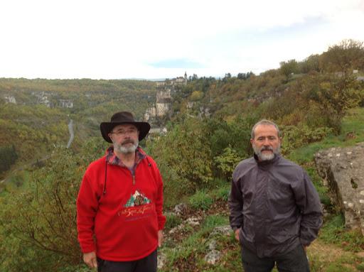 Jose Ignacio y Santi, los dos peregrinos CER 2012 y al fondo Rocamadour