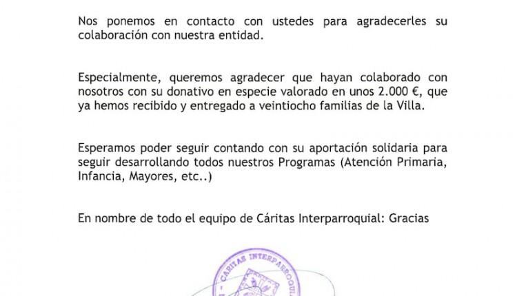 Hermandad Rociera de Medina del Campo – Importante Donación a Cáritas y a la Fundacion Sandra Ibarra