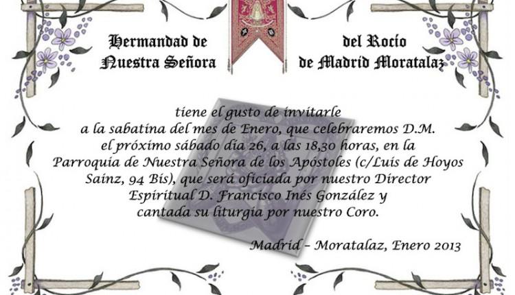 Hermandad de Madrid – Sabatina y Cena de convivencia