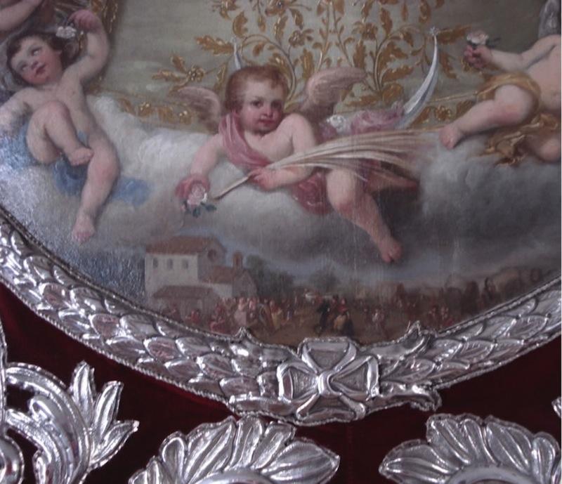 Vista de la Romería del Rocío en la pintura del Simpecado de 1766