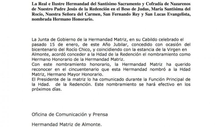 Hermandad Matriz – Nombramiento de Hno. Honorario