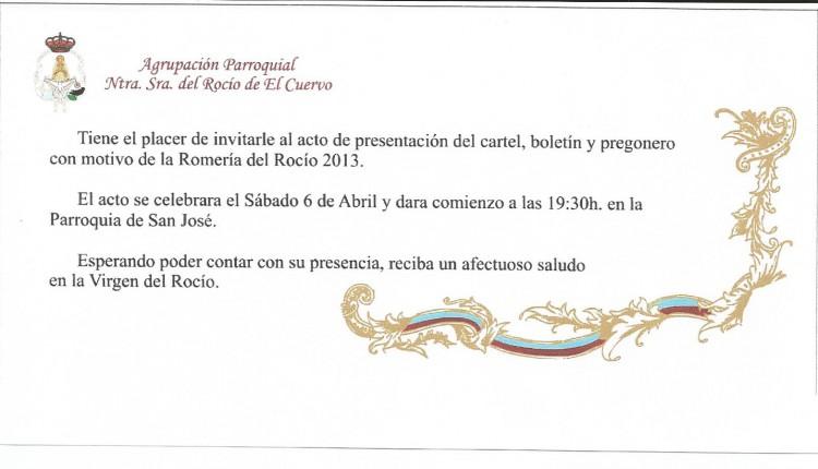 Agrupación Parroquial de El Cuervo – Presentacion del Cartel, Boletin y Pregonero