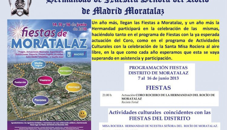 Programa con actos de la Hermandad del Rocío de Madrid-Mortalaz