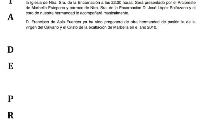 FRANCISCO DE ASIS FUENTES, HERMANO MAYOR DE MARBELLA, NOMBRADO PREGONERO 2013 A LA VIRGEN DEL CARMEN