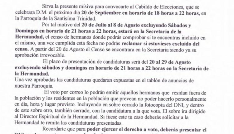 Hermandad de Chiclana – Censo de Hermanos y Cabildo de Elecciones