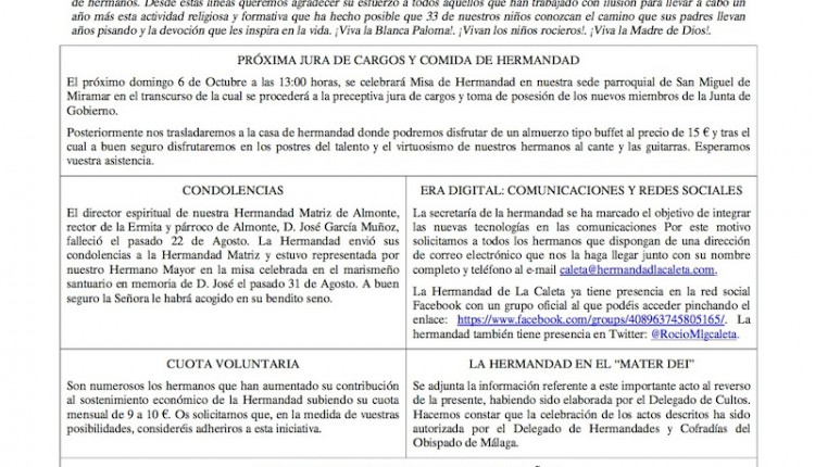 Hermandad de Málaga la Caleta – Hoja Informativa