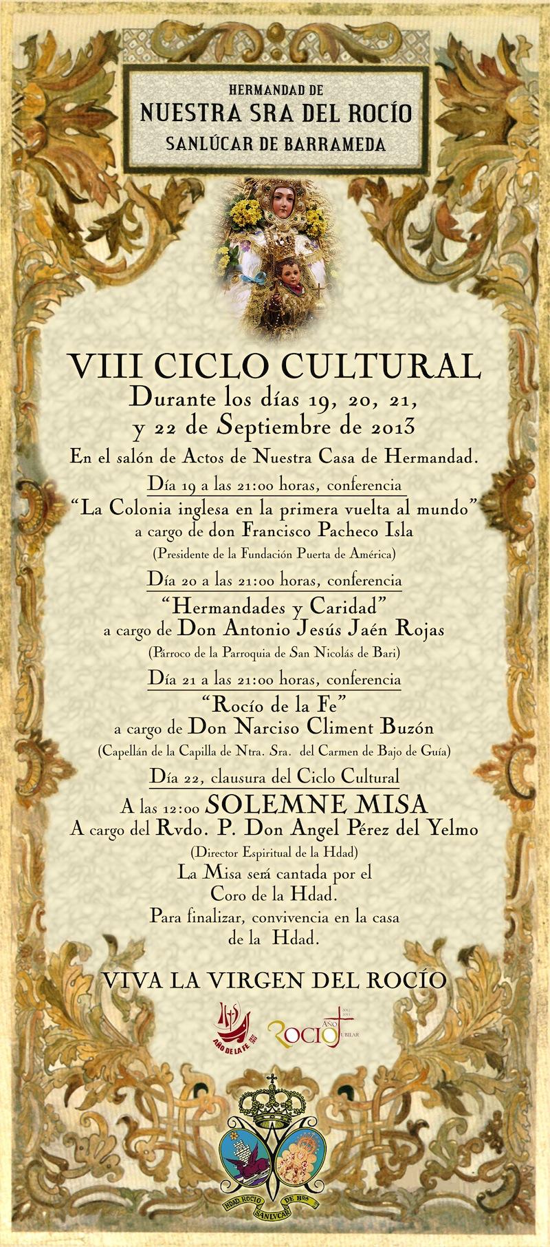 Cartel VIII Ciclo Cultural Rocio de la Hdad. de Sanlúcar de Barrameda