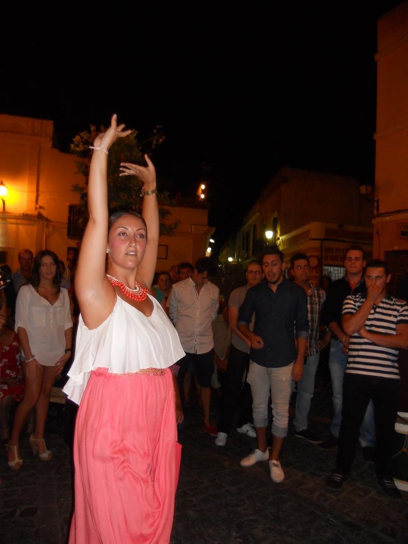 Diferentes momentos en los que miembros del Coro bailaron y cantaron ante el Simpecado