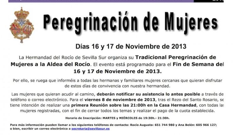 Hermandad de Sevilla Sur – PEREGRINACIÓN DE MUJERES 2013