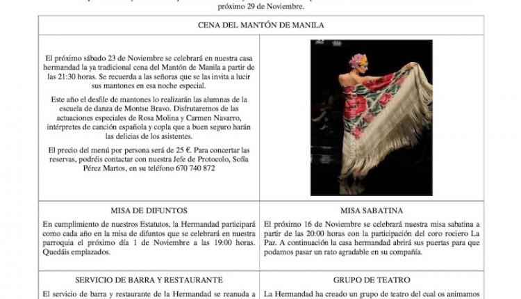 Hermandad de Málaga la Caleta – Hoja informativa del mes de noviembre 2013