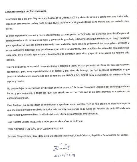 rocio.com - OFRENDA DEL FORO 2013  -  Santa Misa en el Santuario (Fotos) - Carta del Padre Evaristo