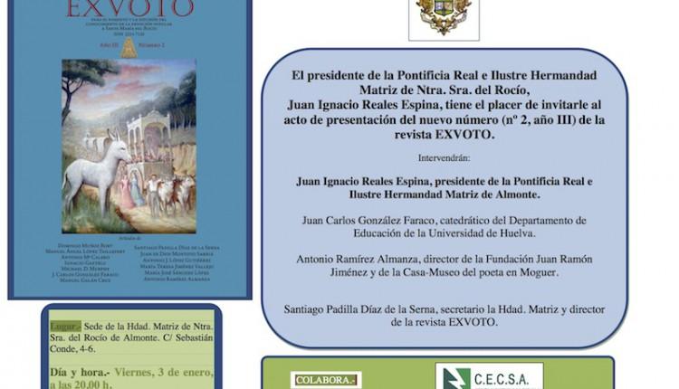 Hermandad Matriz – Presentación del próximo número de la revista EXVOTO (nº 2, III año)