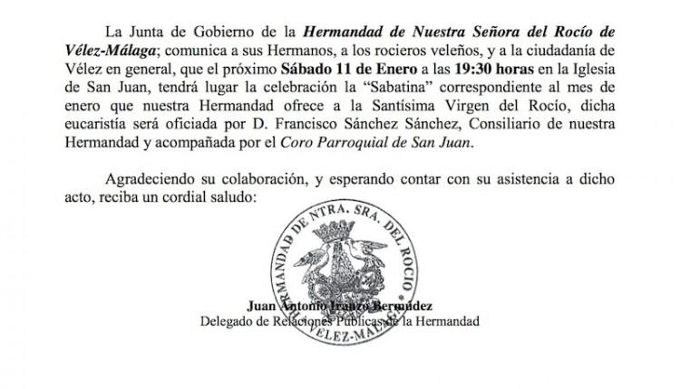 Hermandad de Vélez Málaga – Sabatina