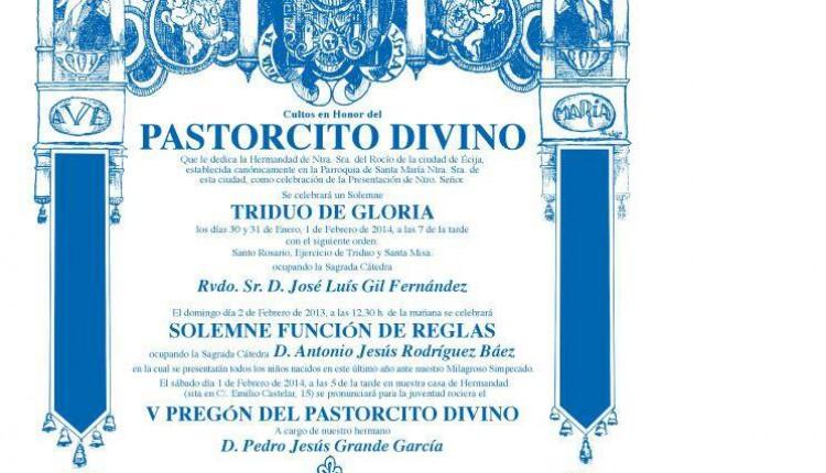 Hermandad de Écija – Triduo en  honor al Pastorcito Divino y VI Pregón del Pastorcito Divino
