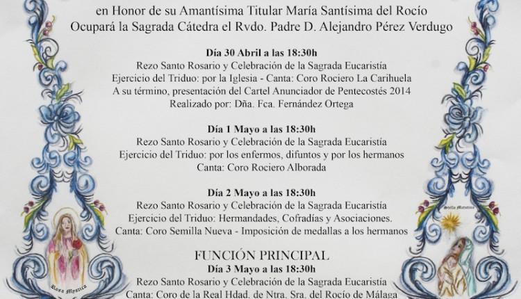 Triduo en Honor a María Santísima del Rocío, Pregón de Pentecostés y Salida de la Asociación Parroquial Ntra. Sra. del Rocío de Torremolinos
