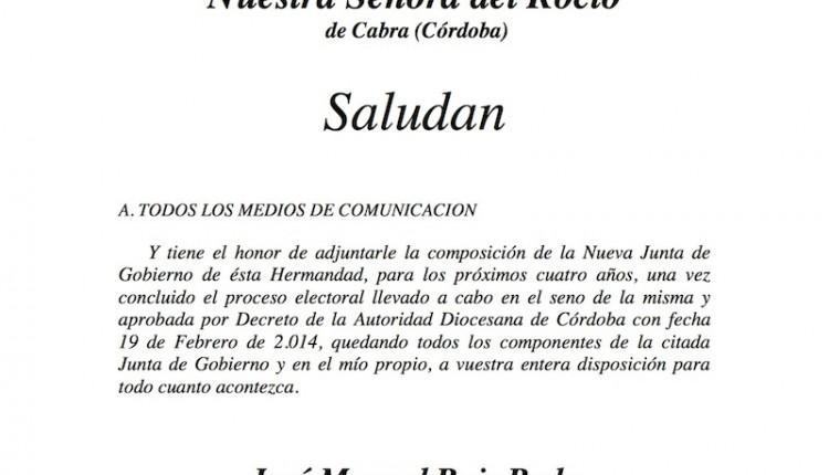 Hermandad de Cabra – Saluda del Presidente y composición nueva Junta