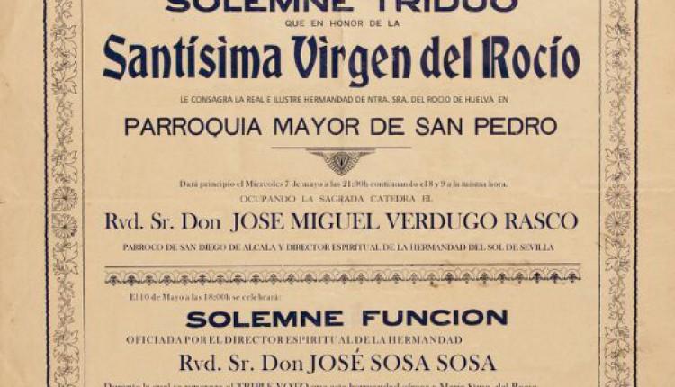 Hermandad de Huelva – Comienzo de los cultos preparatorios para la Romería del Rocio