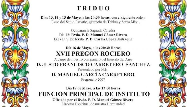 Hermandad Castrense del Rocío celebra Solemne Triduo y Pregón