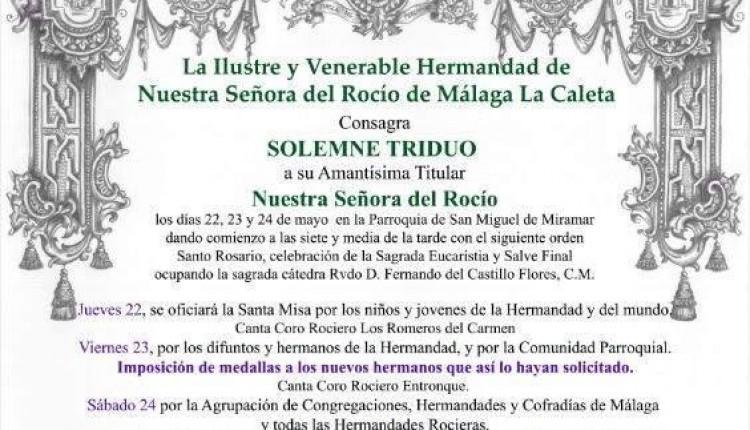 Hermandad de Málaga la Caleta – Convocatorias de los cultos y pregón