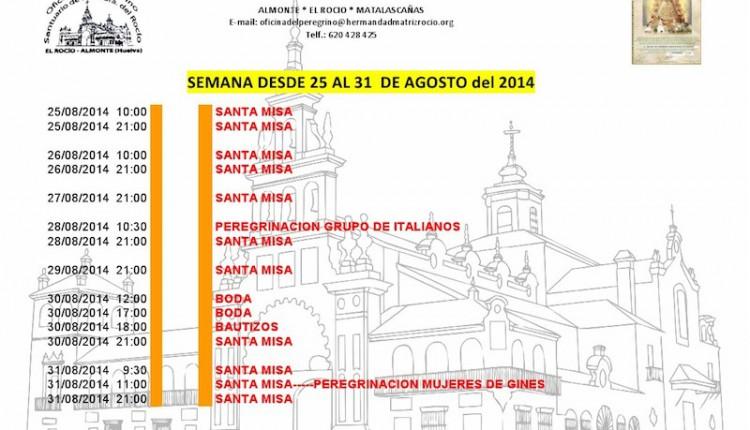 AGENDA ROCIERA DEL 24 AL 31 DE AGOSTO