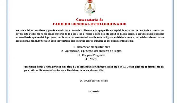 Agrupación Parroquial de El Cuervo – Convocatoria Cabildo General extraordinario