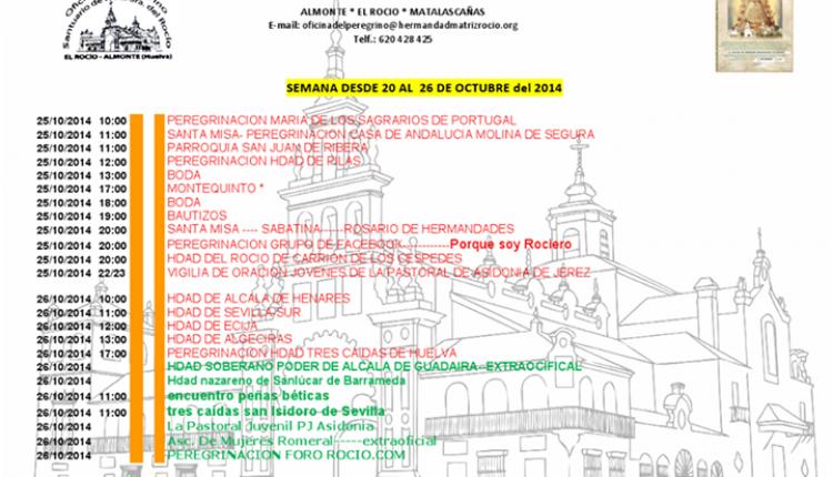 Peregrinaciones extraordinarias del sábado 25 y domingo 26 de octubre de 2014