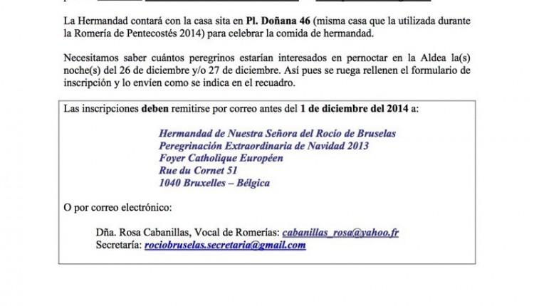Hermandad de Bruselas – Abierto plazo de inscripción para la Peregrinación Extraordinaria de Navidad 2014