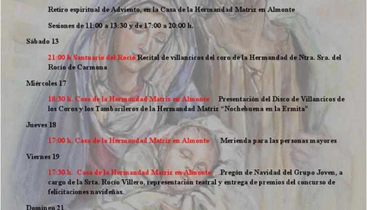 Programación de Adviento y Navidad de la Hermandad Matriz de Almonte