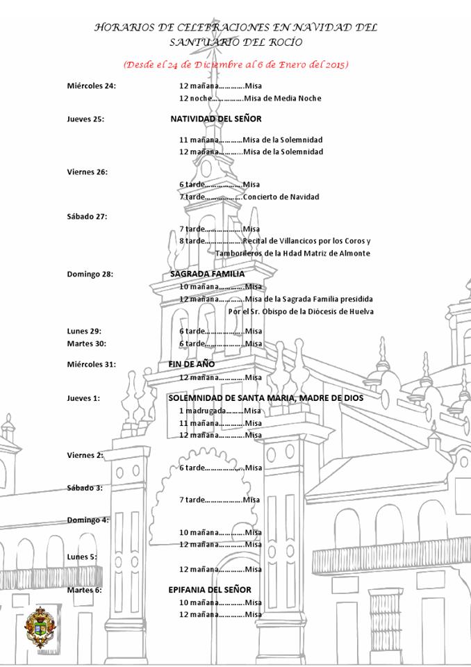 Horarios de celebraciones en el Santuario del Rocío para la Navidad 2014